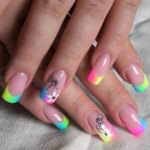 Радуга на ногтях фото