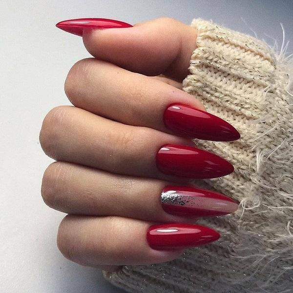 Бордовый дизайн ногтей 2021